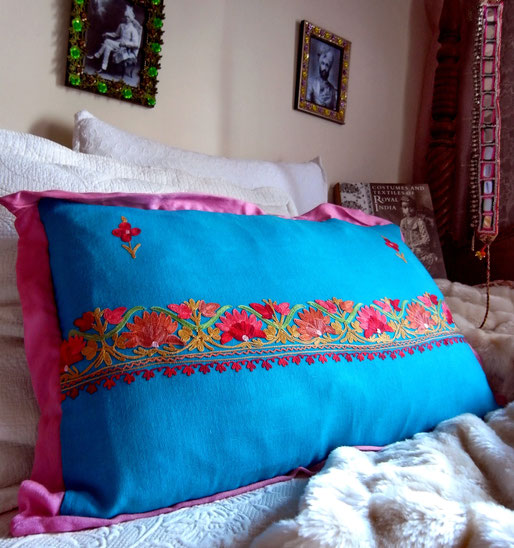 Topaz blue pashmina wool cushion cover with vibrant floral embroidery & berry pink pashmina wool folded frill