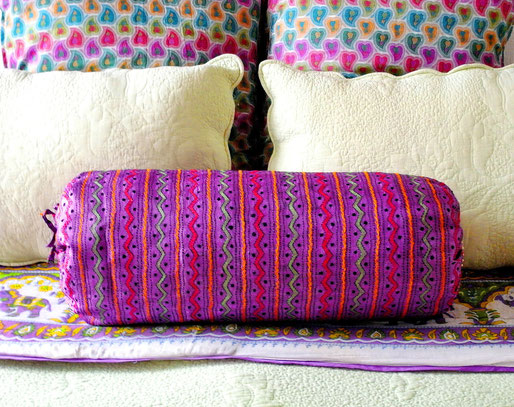 Handloom, tassur-silk, kashmir wool blend bolster cover with colourful kantha embroidery