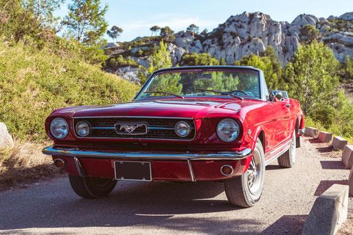 Location de cabriolets vintage en Provence : Ford Mustang 66