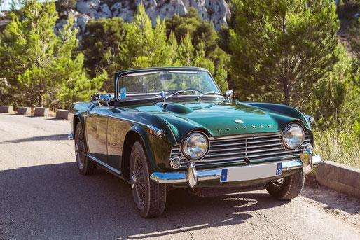 Location de cabriolets vintage en Provence : Triumph TR4 A IRS