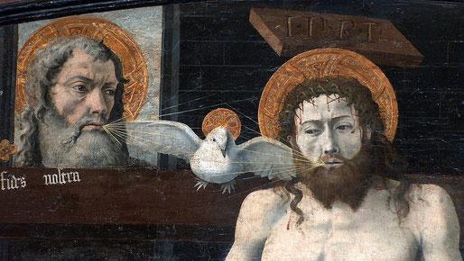 Hauchung des Heiligen Geistes in einer Darstellung der lateinischen Kirche Saint-Marcellin, Boulbon (Provence, um 1450; heute im Louvre)