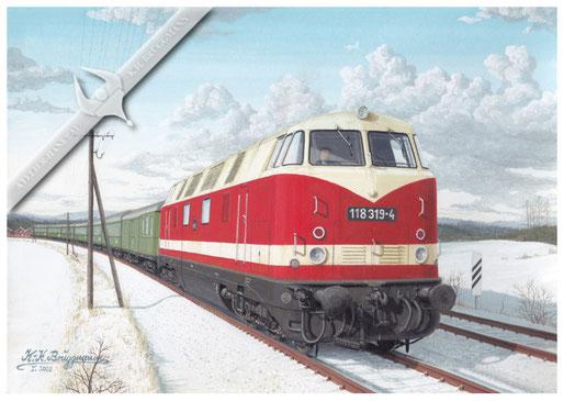 Diesellok DR 119 007 mit Rekowagen in Jena Paradies. Ende der 70er
