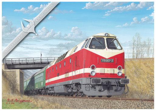 Diesellok DR 118 319 mit D-Zug Helmstedt-Berlin bei Helmstedt, 1972