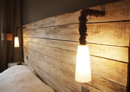 tête de lit bois naturel