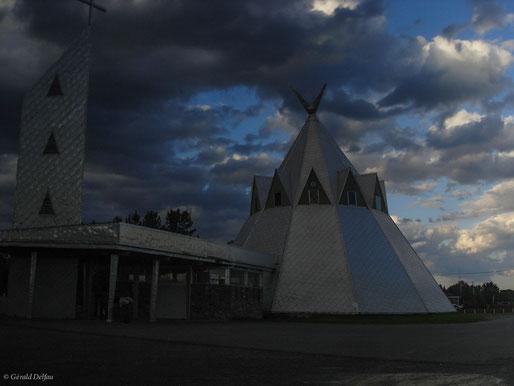 Lac Saint-Jean au Québec, Canada, église indienne en forme de Thipi
