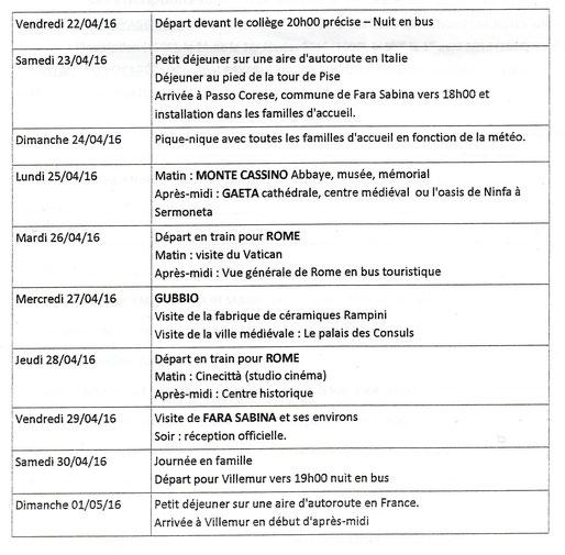 Le programme du séjour 2016