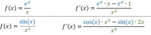 Weitere Beispiele für die Anwendung der Quotientenregel.