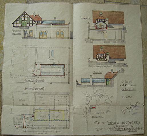 1913 Bauplan zum Anbau eines Wintergartens an das Nebengebäude