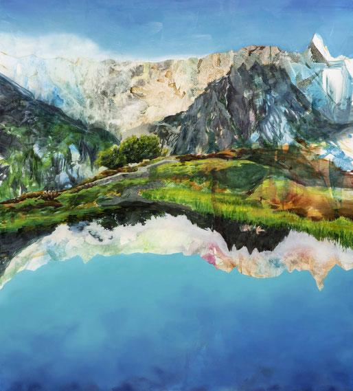 Kallait, 2018, Öl und Tusche auf Leinwand, 200x 180 cm
