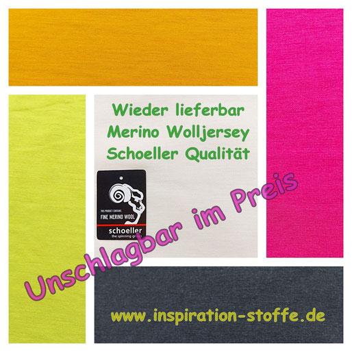 wieder lieferbar merino Wolljersey in Schoeller Qualität, tolle Farben, super Preis
