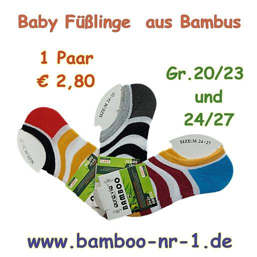 Geringelte Baby Füßlinge aus Bambus, Gr.20/23 und 24/27