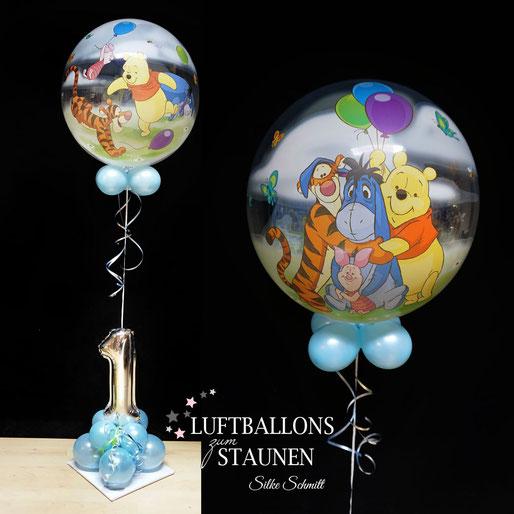 Bubble Ballon Folienballon Heliumballon Helium 1. Geburtstag Mädchen Junge Zahl Kindergeburtstag Party 2 3 4 5 6 7 8 9 Winnie Pooh Puuh Ferkel Esel Tiger Bär Deko Dekoration Versand Idee Überraschung Geschenk Geburtstagsgeschenk