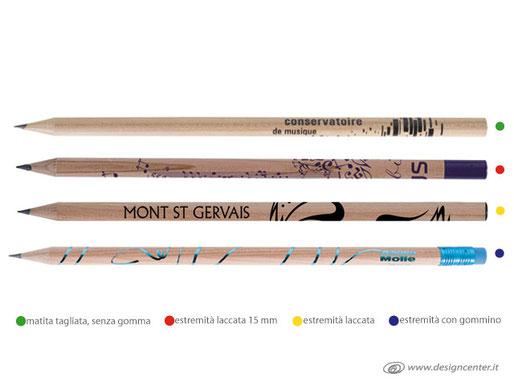 Matite tonda naturale lungh 18 cm con e senza gomma, laccate, personalizzate