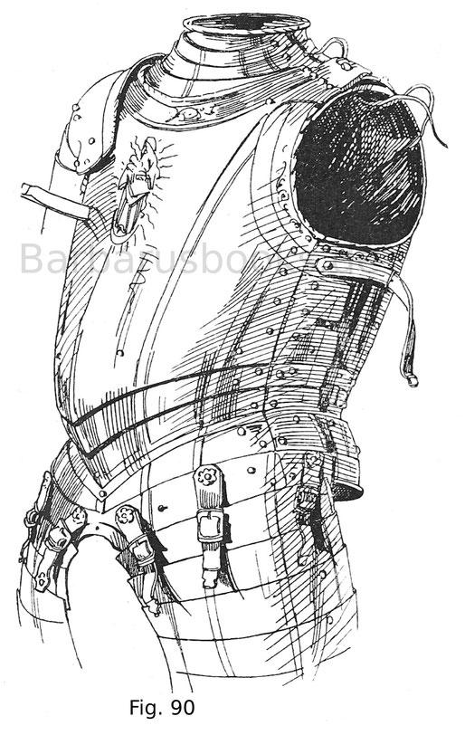 Brust mit Kragen, Bauchreifen und geschobenen Beintaschen mit in goldgeätzten Zügen und figuralen Darstellungen. Der Rüsthaken ist in das Bruststück zurückzuschieben. Von einem Harnisch Kaiser Karls V. den derselbe 1546 vor Ingolstadt getragen hatte. Deut