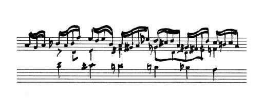 G.Fr. Händel, Satz 4 (Fuga), Takt 18-20, in Suite Nr. 2  aus Suites de Pièces pour le Clavecin, London 1720 - in der Handschrift von Timpelan