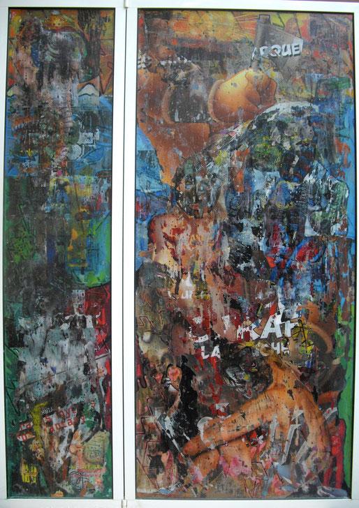 Collages & techniques mixtes sur plexiglas, 140X100cm, 2014.