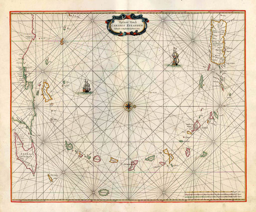 Pieter Goos, Caribes Eylanden, Amsterdam 1666, Sanderus maps