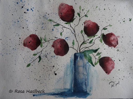 aqarell blumenaquarell, blumen, blumenstrauß blumenaquarell kaufen, rot, blau, watercolor, kunst, bild