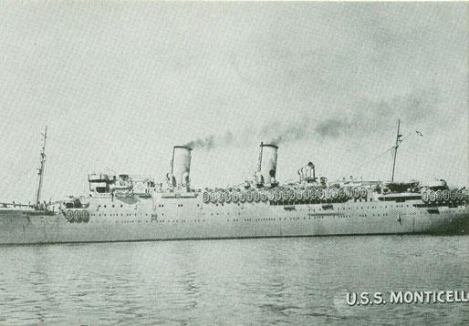 La USS Monticiello con la quale il 173rd field artillery battalion parti per la guerra verso l'Europa 1943