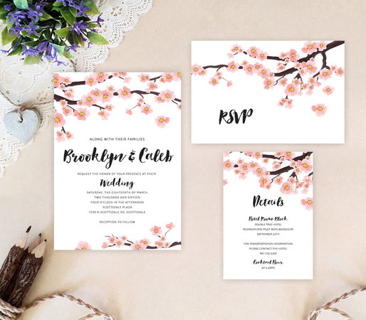 Spring wedding invitations packs