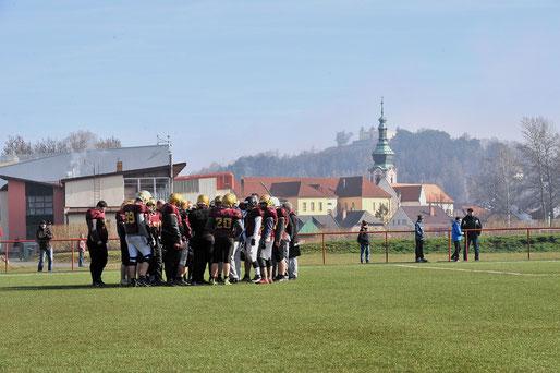 American Football Mannschaft beim Football-Camp