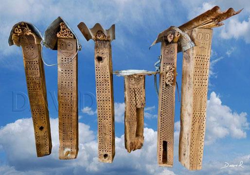 Vorbildliche Wildbienen-Nisthilfen aus alten Eichenbalken