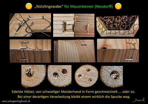 Insektenhotel Insektennisthilfen Nisthilfen insect hotel nesting aid bug house Neudorff Nützlingswabe Mauerbienen mason bees  Wildbienen wild bee