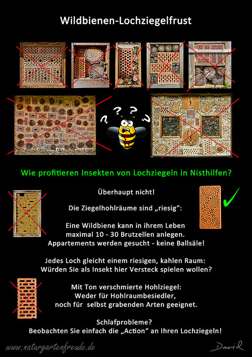 Insektennisthilfe insect nesting aid Nisthilfe Insektenhotel Bienenhotel  insect hotel bug house Wildbienen wild bee Lochziegel hollow perforated brick cavity gutter tile