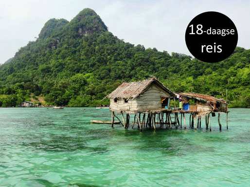 Houten huisje op palen in het heldere water op Maleisisch Borneo