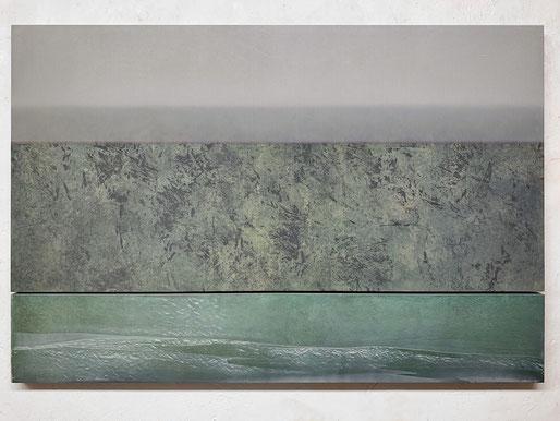 Scaletta X 2020  Kunstharz, Pigment, Steinmehl, Ölfarbe auf Holz 2 Teile 65 x 130 cm / 21,7 x 130 cm