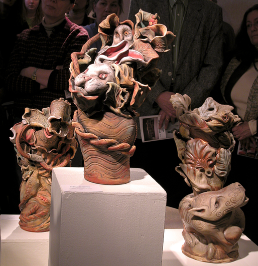 """Animal Chase Set - hand built low and high fired ceramic clay with glazes and stains - 24"""" h x 14"""" w"""