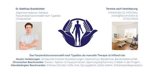 Rückseite Flyer für Dr. Matthias Brandstetter, Fasziendoktor
