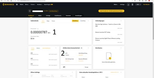 Hier sieht man die Binance Webseite, genauer gesamt die Account Verwaltung in einem Binance Account.
