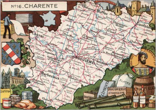 Recto d'une carte postale timbrée envoyée depuis la Charente
