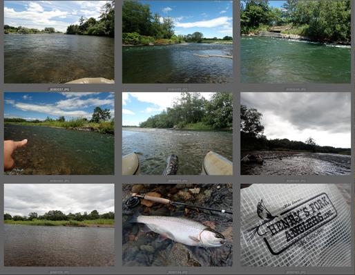 8月上旬、天候は晴れ。最高の川下り日和。カーブを曲がるたび目に飛び込んでくる景色に心ときめかせながらの川旅は本当に素晴らしい。岸からはなかなかたどり着けないスポットを見つけようものならご覧のとおり。誰にも釣られたことのないような、傷ひとつないコンディション抜群のニジマスやヤマメがたくさん釣れました。Nさん、また行きましょう!