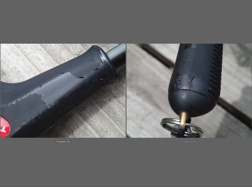左はフープ取り付け部分のグリップ部。右はグリップエンド。