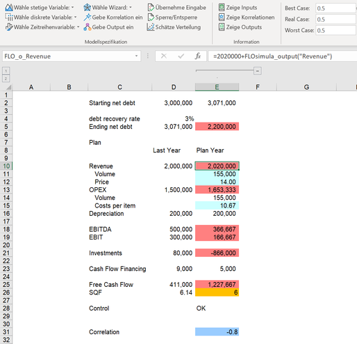Ambition Zielwert Monte Carlo Simulation MC FLO Excel