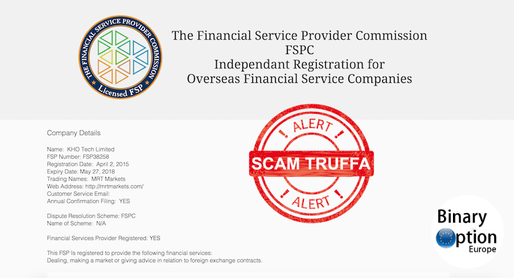 mrtmarkets licenza regolamentazione FSPC truffa