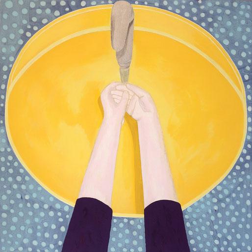 Simina Badea, It´s corona time - Händewaschneurose, Acryl auf Leinwand, 70x70cm, 2020