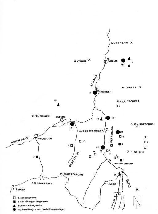 Bergbau im Schams und Rheinwald. Abbaugebiete im Überblick. Standort der Bergwerke und der Verhüttung