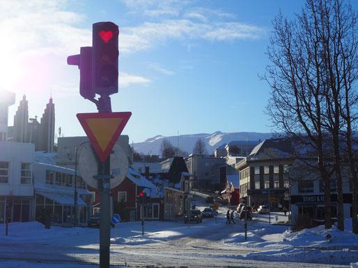 Wahrzeichen von Akureyri: Herz-Ampel
