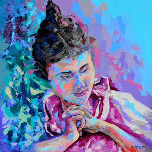 Dieses Portrait ist in Acrylfarben und Spachteltechnik auf Leinwand ausgeführt. Moderne Kunst, abstrakt und realistisch zugleich.