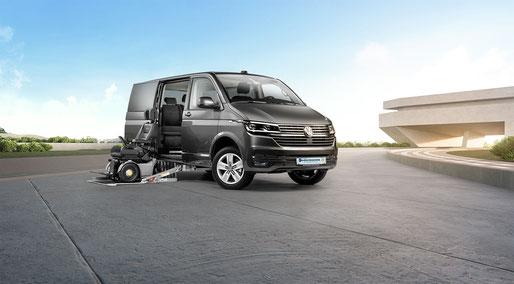 behindertengerechter Volkswagen T6.1 Selbstfahrerumbau, seitlichem Kassettenlift, Bodenbegradigung A-C Säule, SpaceDrive, Sodermanns