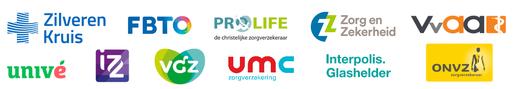 Logo's van zorgverzekeraars die de Somnio slaaptherapie vergoeden: Zilveren Kruis, FBTO, VGZ, ONVZ, Pro Life, Interpolis