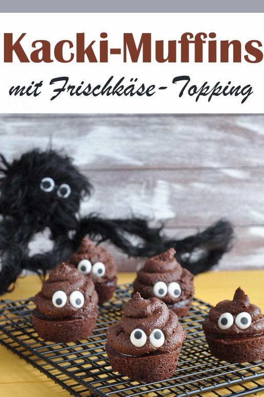 Witzige Emoji Muffins wie der Kackhaufen aus Whatsapp, Schokoladenmuffins mit Schokoladen Frischkäse Topping und Augen für Halloween, Karneval oder Kindergeburtstag