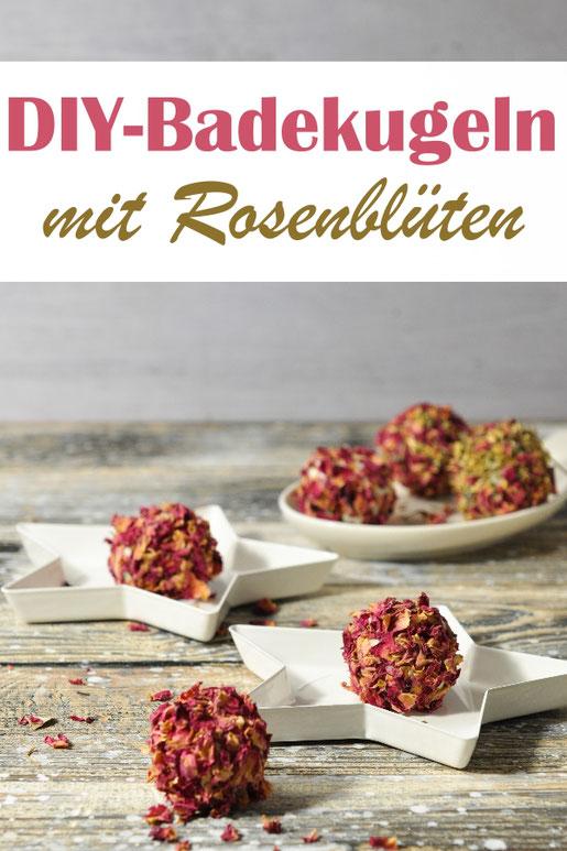 Badekugeln selbst gemacht aus Duschgel, Speisestärke und Kokosfett, gewälzt in Rosenblütenblättern, z.B. aus dem Thermomix, tolles Weihnachtsgeschenk oder Ostergeschenk