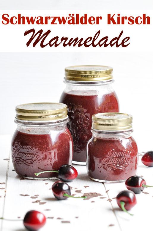 Fantastische Schwarzwälder Kirsch Marmelade selbst gemacht mit Kirschen, Kirschwasser und Schokolade, lecker, tolles Geschenk aus der Küche