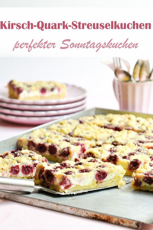 Kirsch Quark Streuselkuchen, perfekter Sonntagskuchen, vegan möglich, z.B. aus dem Thermomix, oder auch auf dem Kuchenbuffet zu Ostern, zum Geburtstag, Sommerfest, Schulfest, etc.