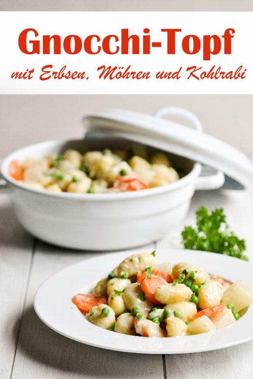 Gnocchi Topf mit Erbsen, Möhren und Kohlrabi, aus dem Thermomix all in one Gericht, vegetarisch, vegan möglich