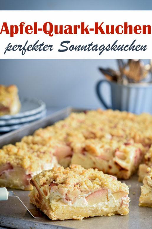 Apfel Quark Streuselkuchen, perfekter Sonntagskuchen, vegan möglich, z.B. aus dem Thermomix, oder auch auf dem Kuchenbuffet zu Ostern, zum Geburtstag, Sommerfest, Schulfest, etc.